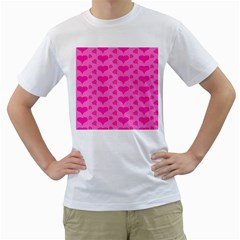 Hearts Pink Men s T-Shirt (White) (Two Sided)