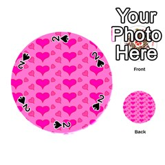 Hearts Pink Playing Cards 54 (Round)