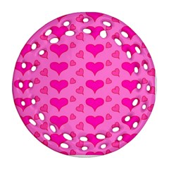 Hearts Pink Round Filigree Ornament (2side)