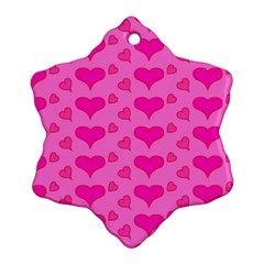 Hearts Pink Snowflake Ornament (2-Side)