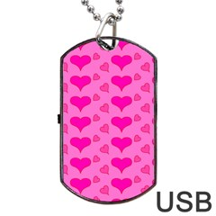 Hearts Pink Dog Tag USB Flash (Two Sides)