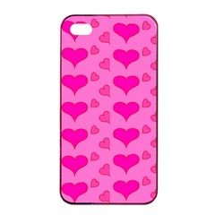Hearts Pink Apple iPhone 4/4s Seamless Case (Black)