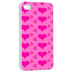 Hearts Pink Apple iPhone 4/4s Seamless Case (White)