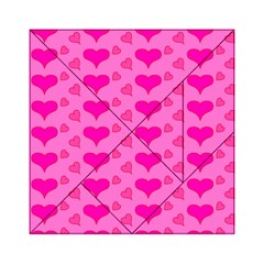 Hearts Pink Acrylic Tangram Puzzle (6  x 6 )
