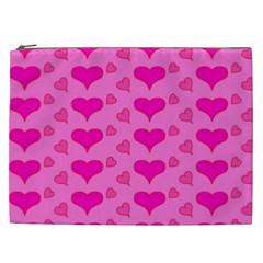 Hearts Pink Cosmetic Bag (XXL)