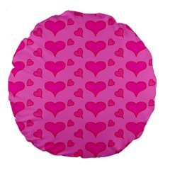 Hearts Pink Large 18  Premium Round Cushions