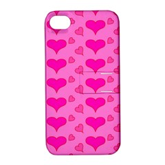 Hearts Pink Apple iPhone 4/4S Hardshell Case with Stand