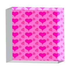Hearts Pink 5  x 5  Acrylic Photo Blocks