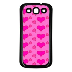 Hearts Pink Samsung Galaxy S3 Back Case (Black)