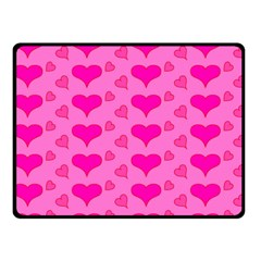 Hearts Pink Double Sided Fleece Blanket (Small)
