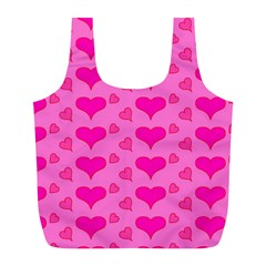 Hearts Pink Full Print Recycle Bags (L)