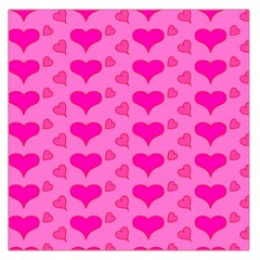 Hearts Pink Large Satin Scarf (square)