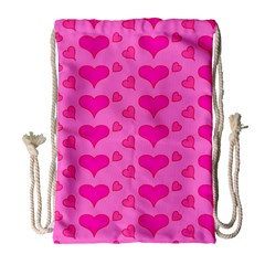 Hearts Pink Drawstring Bag (Large)