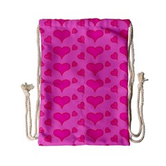 Hearts Pink Drawstring Bag (Small)