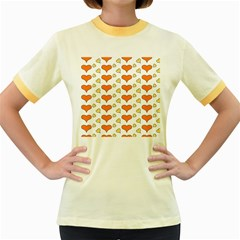 Hearts Orange Women s Fitted Ringer T-Shirts