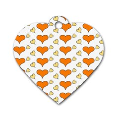 Hearts Orange Dog Tag Heart (One Side)
