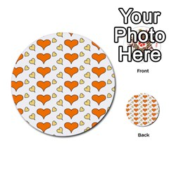Hearts Orange Multi Purpose Cards (round)