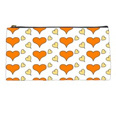 Hearts Orange Pencil Cases