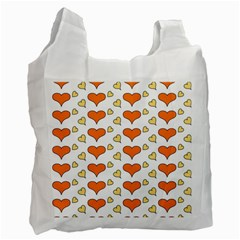 Hearts Orange Recycle Bag (two Side)
