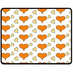 Hearts Orange Fleece Blanket (Medium)