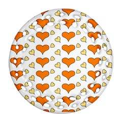 Hearts Orange Ornament (Round Filigree)