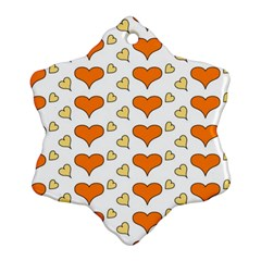 Hearts Orange Snowflake Ornament (2-Side)