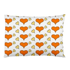 Hearts Orange Pillow Cases (Two Sides)
