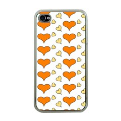 Hearts Orange Apple iPhone 4 Case (Clear)