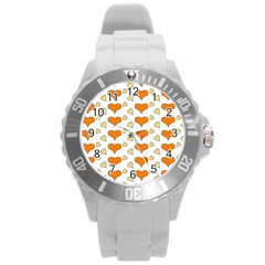 Hearts Orange Round Plastic Sport Watch (L)