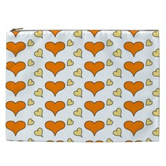 Hearts Orange Cosmetic Bag (XXL)