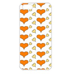 Hearts Orange Apple iPhone 5 Seamless Case (White)