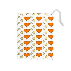 Hearts Orange Drawstring Pouches (Medium)