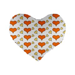 Hearts Orange Standard 16  Premium Flano Heart Shape Cushions