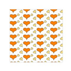 Hearts Orange Small Satin Scarf (Square)