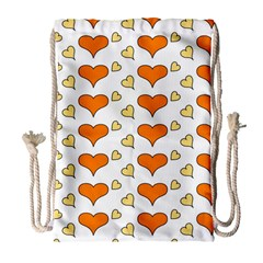 Hearts Orange Drawstring Bag (Large)