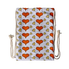 Hearts Orange Drawstring Bag (small)