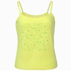 Flowers And Hearts Yellow Spaghetti Tanks