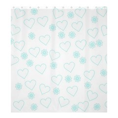 Flowers And Hearts Shower Curtain 66  X 72  (large)