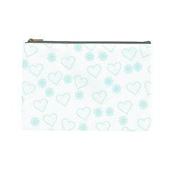 Flowers And Hearts Cosmetic Bag (Large)