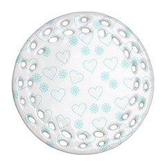 Flowers And Hearts Ornament (Round Filigree)