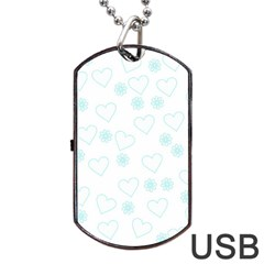 Flowers And Hearts Dog Tag USB Flash (One Side)
