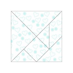Flowers And Hearts Acrylic Tangram Puzzle (4  x 4 )