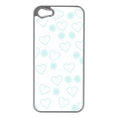 Flowers And Hearts Apple iPhone 5 Case (Silver)