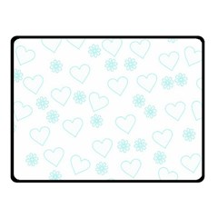 Flowers And Hearts Double Sided Fleece Blanket (Small)