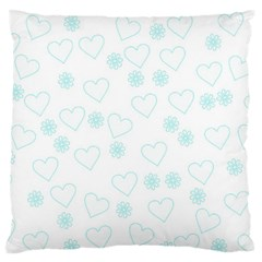 Flowers And Hearts Large Flano Cushion Cases (One Side)