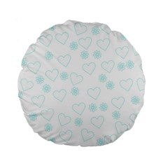 Flowers And Hearts Standard 15  Premium Flano Round Cushions