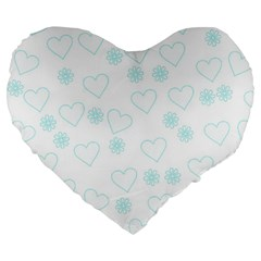 Flowers And Hearts Large 19  Premium Flano Heart Shape Cushions