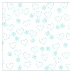Flowers And Hearts Large Satin Scarf (Square)