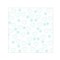 Flowers And Hearts Small Satin Scarf (Square)