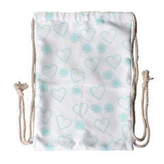 Flowers And Hearts Drawstring Bag (Large)